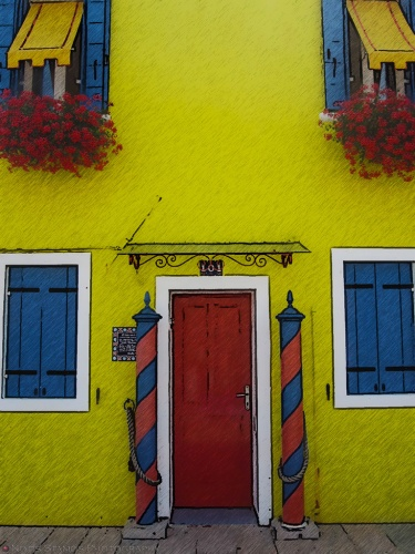 We particularly liked the color combination on this house.