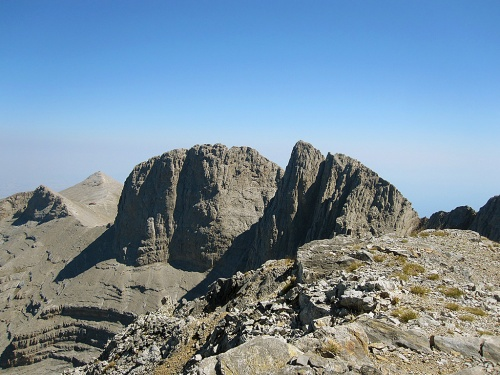 Mytikas (second from the right), Stefani (middle) and Prophet Ilias (background left) peaks as seen from the Scholio (translation: school) peak. Notice the Giosos Apostolidis resort at the base of Prophet Ilias.