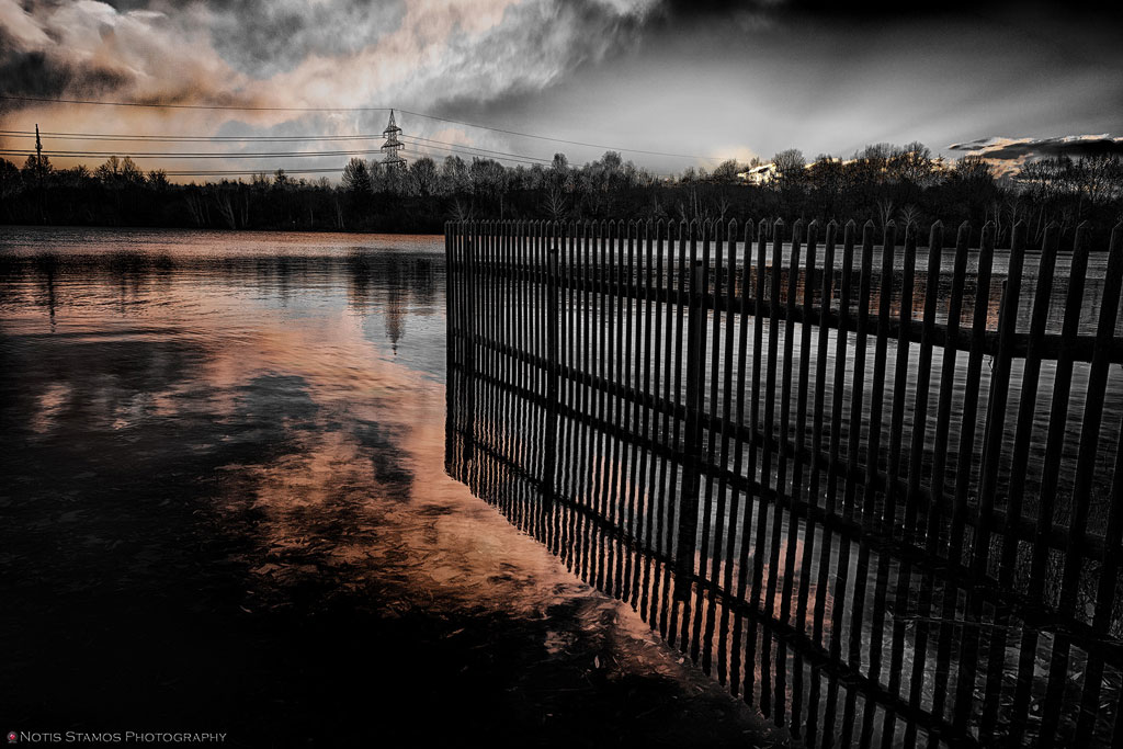Lake - Fence - Reflection - Sunrise - Munich