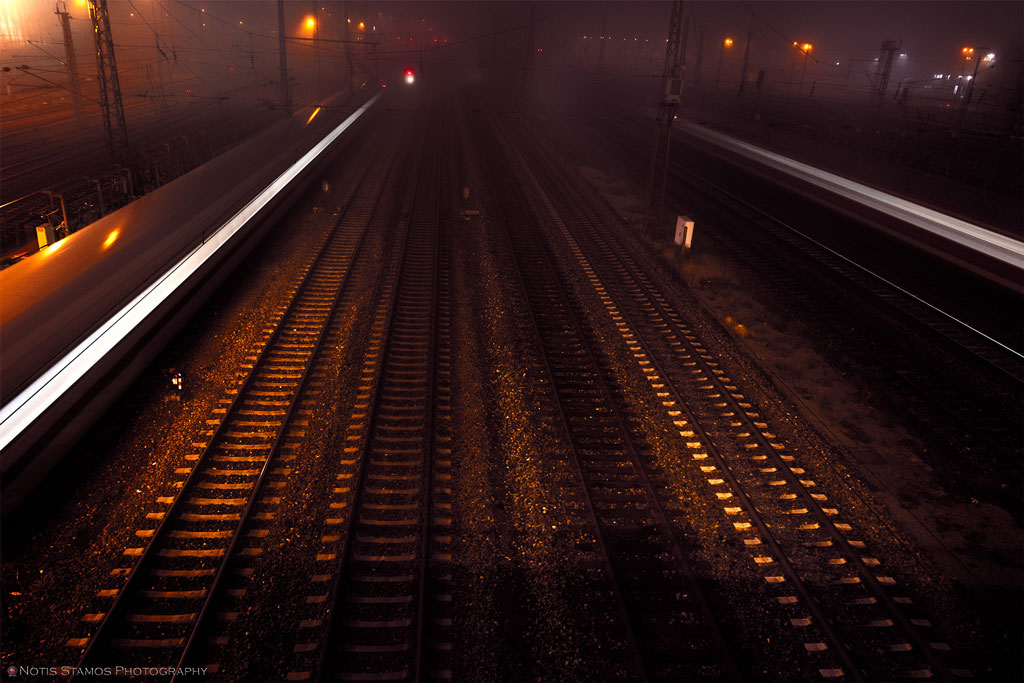 Rail tracks - Trains - Night - Munich
