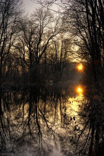 Sunset - River - Reflection - Munich