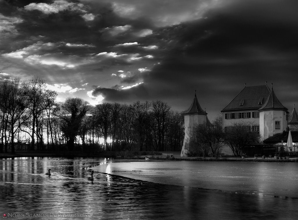 Schloss Blutenburg - Notis Stamos - Lake Sunset - B&W