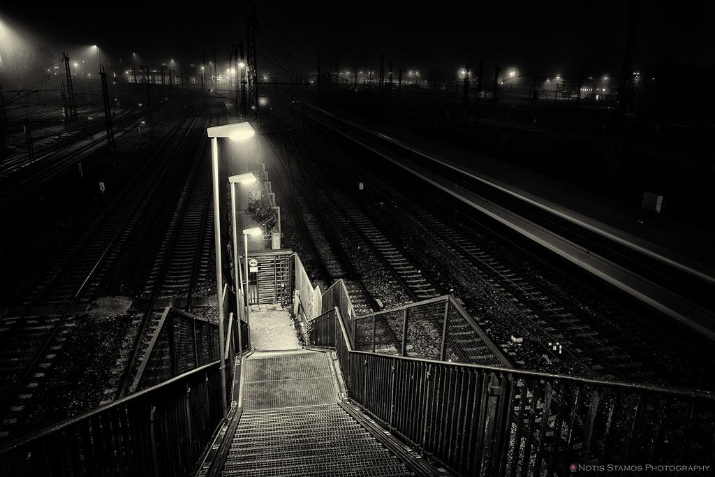 Steps - Rail tracks - Night - Munich