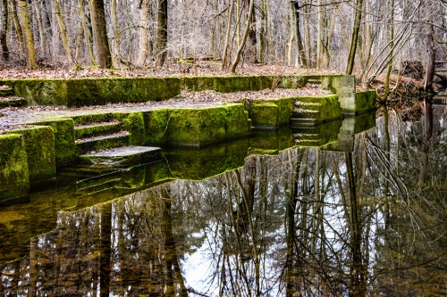Nymphenburg park, Notis Stamos, Channel, Steps, Moss, Reflection