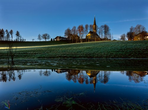 Neukirchen, Bayern, Dawn, Church, Pond, Lake, Reflection, Notis Stamos