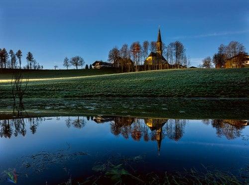 Neukirchen, Bayern, Dawn, Church, Pond, Lake, Reflection, Notis Stamos