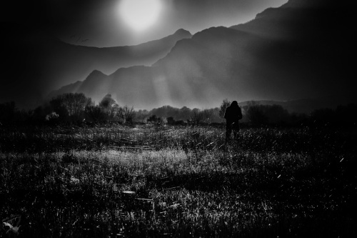 Thessaly, plain, B&W, mountains, Notis Stamos