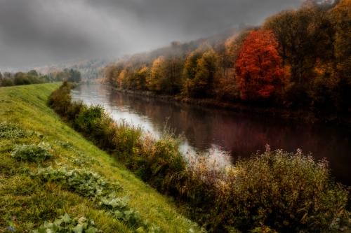 Autumn, leaves, Red, Notis Stamos, River, Rain