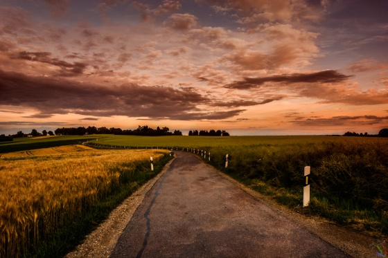 Fields, Clouds, Rain, Sunset, Bavaria