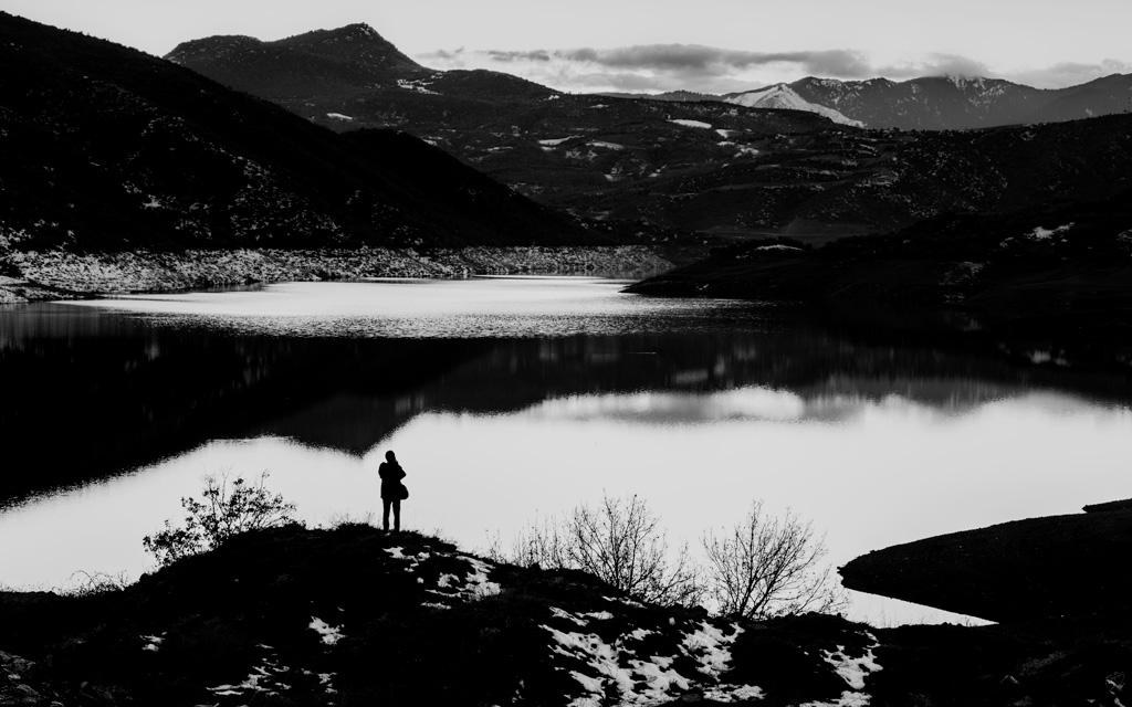 Lake, Reflection, Mountains, Notis Stamos