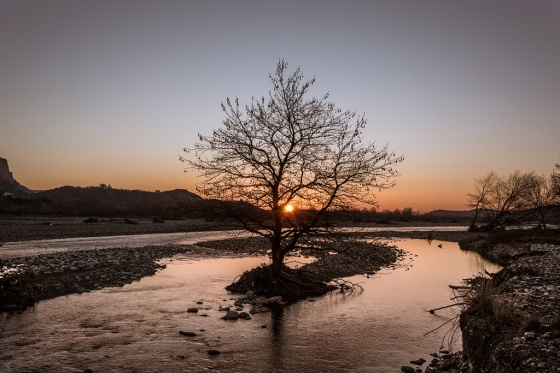 Sunrise, River, Tree, Meteora